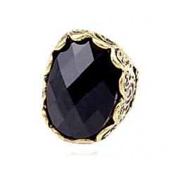 Cheap Vintage Black Gothic Treasure Carved Stone Surface Metal Exaggerated Fashion Rings