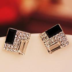 Low Price on Korea OL noble black and white box super flash diamond earrings  European and American female wild E549