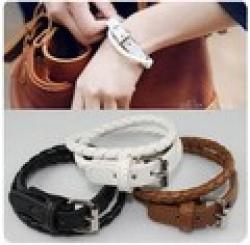 Cheap New Style Fashion Belt Buckle Style Leather Bracelet  XY-B16