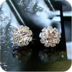 Cheap OMH wholesale 12 pair off 43% = $0.41/pair EH15 brief fashion bling Garden ball zircon crystal stud earring 2g