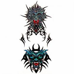 Cheap 1pc Totem Face Waterproof Tattoo Sample Mold Temporary Tattoos Sticker for Body Art(18.5cm8.5cm)
