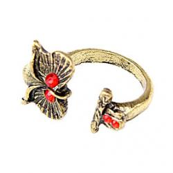 Cheap Kazakh Korean Family Of European And American Jewelry Retro Red Diamond Owl Ring Opening