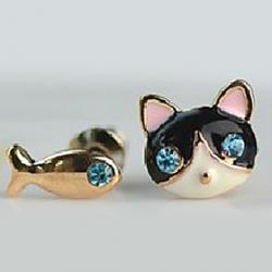 Cheap 2012 New Korean Jewelry Small Female Cat And Fish Earring E571
