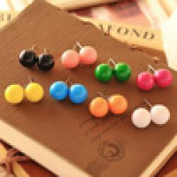Cheap 8 colors candy ball lovely Western European Style round stud earrings for women jewelry