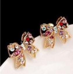 Low Price on LZ Jewelry Hut E106 The 2014  Wholesale Fashion Colorful Rhinestone Butterfly Womans Earrings