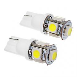 Cheap 2 Pcs T10 1.5W 5x5050SMD 100-120LM 6000K Cool White Light LED Bulb (12V)