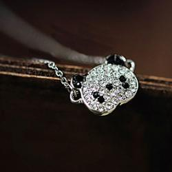 Cheap Japan and South Korea edition fashion lovely panda full diamond chain necklace clavicle N574