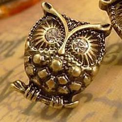 Cheap Exquisite Realistic Three-Dimensional Diamond Earrings Personalized Owl E678