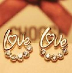 Cheap ES362 Fashion New Style Korean Version LOVE Shiny Pearl Earrings Wholesales Free shipping