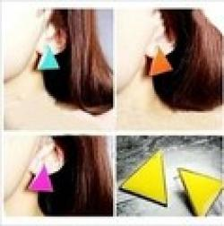 Cheap Free Shipping $10 (mix order) New Fashion Vintage Stunning Colorful Candy-colored Earrings Geometric Triangle Jewelry