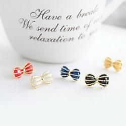 Cheap Sweet temperament wild cute bow earrings earrings (random color)