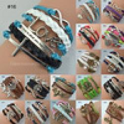 Cheap Hot Jewelry Vintage Braided Anchors Rudder Metal Leather Bracelet Multilayer Rope Bracelets Wrap Bracelets Wholesale Bangle