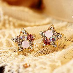 Cheap Colorful cute star earrings diamond full diamond pentagram earrings earrings E600