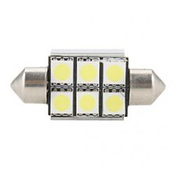 Cheap 36mm 6 SMD Super White 5500K LED Light Bulb