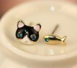 Cheap LZ Jewelry Hut E162 Fashion 2014 New  Fashion  Exquisite Super Bright Flash Small Cats And Fish Earrings For Women