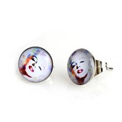 Cheap Fashion White Painted Marilyn Monroe Stud Earrings