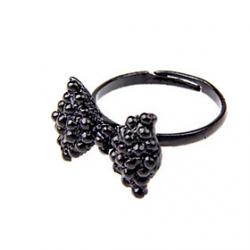 Cheap Retro Black Full Diamond Bow Ring