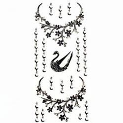Cheap 1pc Swan Bracelet Necklace Waterproof Temporary Tattoos Sticker for Hand Wrist Neck (18.5cm8.5cm)