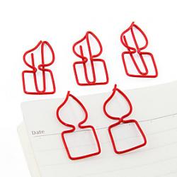 Low Price on Burning Candle Shape Metal Paper Clips (10PCS Random Color)