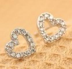 Cheap 2014 Wholesale Fashion Love Heart Stud Earrings Female Earrings Silver color XY-E130
