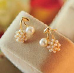 Cheap Elegant Women Korean Exquisite OL 18KG Plated Fashion Simulated Pearl Cherry 18KGP Stud Earrings E2281