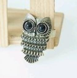 Low Price on $10 (mix order) Free Shipping New Fashion Bronze Stud Owl Vintage Black Eye Alloy Ring R012 6g