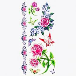 Cheap 1pc Butterfly Rose Bracelet Waterproof Tattoo Sample Mold Temporary Tattoos Sticker for Body Art(18.5cm8.5cm)