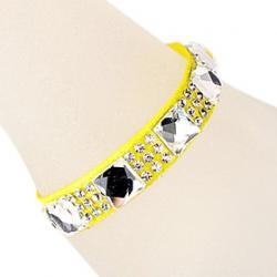 Cheap Glass Diamond Ribbon Yellow Bracelet