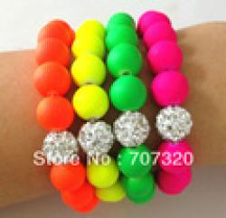 Cheap Min.Order ( $9.9 mixed) Handmade Jewelry Hot Neon Bracelet Fluorescence Candy Color Beads Disco Shamballa Ball Stretch Bracelet