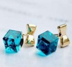 Cheap Exquisite Blue Crystal Cube Rubik's Cube Stone Lovers Bow Earrings!#1830