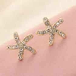 Low Price on Free Shipping $10 (mix order)  New Fashion Sweet Lovely Gold Ocean Starfish For Unisex E797 Earring Jewelry 2g
