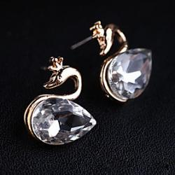 Cheap Korean version of the new Korean super flash black diamond earrings gorgeous crystal stones swan(random color)
