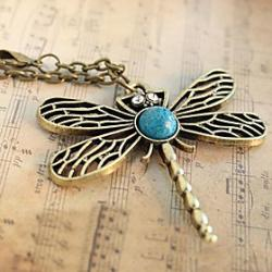 Low Price on European and American jewelry retro sweater chain hollow dragonfly N89