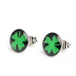 Cheap Fashion Black Ground Clover Stainless Steel Stud Earrings
