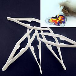 Cheap 1PCS White Plastic Tweezer Tool for Fuse Beads Hama Beads DIY Jigsaw Safty for Kids Craft