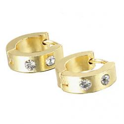 Cheap Gift For Boyfriend Fashion Rhinestone Gold Titanium Steel Stud Earrings (1 Pair)