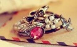 Fashion Hot Sale New Arrival Bow Flower Bird Rhinestone  Beautiful 5 Rings R62 Sale