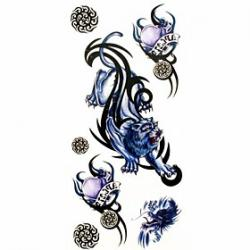Cheap 1pc Totem Lion Waterproof Tattoo Sample Mold Temporary Tattoos Sticker for Body Art(18.5cm8.5cm)