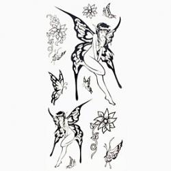 Cheap 1pc Black Butterfly Genie Waterproof Tattoo Sample Mold Temporary Tattoos Sticker for Body Art(18.5cm8.5cm)