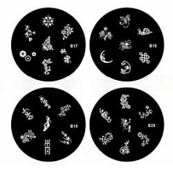 Cheap 1PCS Nail Art Stamp Stamping Image Template Plate B Series NO.17-20(Assorted Pattern)