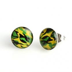 Cheap Fashion Green Camouflage Stainless Steel Stud Earrings