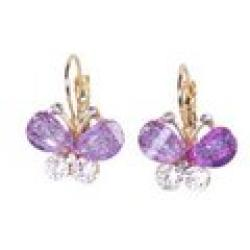 Cheap ES075 mix wholesale 2014 new Fashion Korea Style Wings Rhinestones Purple Bow Butterfly Earrings for women Free shipping