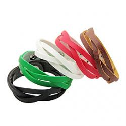 Cheap Punk Style Weave Leather Bracelet(Assorted Color)