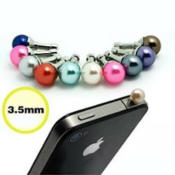 Cheap Toophone JOYLAND 3.5mm Colored Pearls Metal Anti-dust Plug for iPhone and Samsung (Random Color)